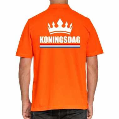 Koningsdag poloshirt kroon oranje heren