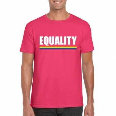 Lgbt shirt roze equality heren