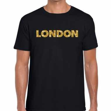 London goud glitter tekst t shirt zwart heren