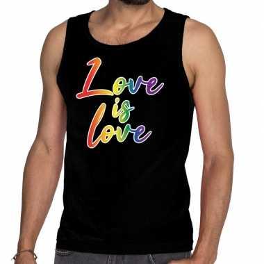 Love is love gaypride tanktop/mouwloos shirt zwart heren