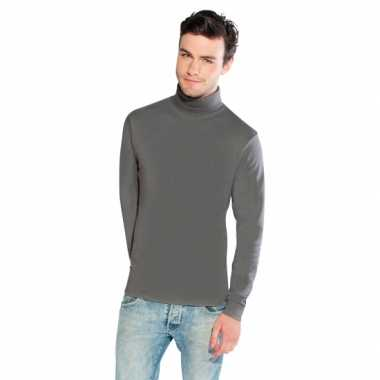 Luxe col t shirt lichtgrijs heren