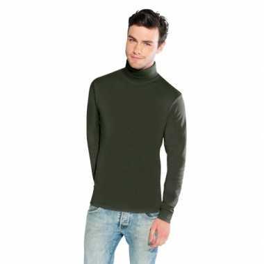 Luxe col t shirt olijf groen heren