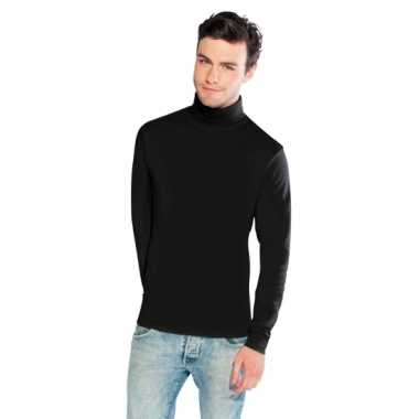 Luxe zwarte col t shirt heren