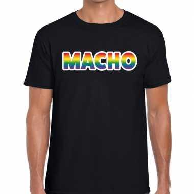 Macho regenboog gaypride shirt zwart heren