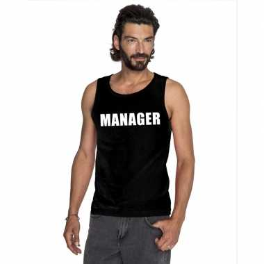 Manager tekst singlet shirt/ tanktop zwart heren
