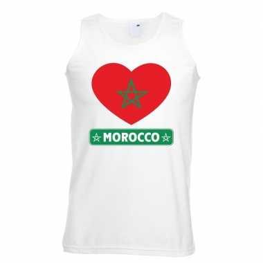 Marokko hart vlag singlet shirt/ tanktop wit heren