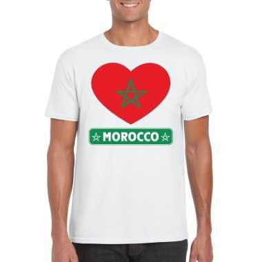 Marokko hart vlag t shirt wit heren