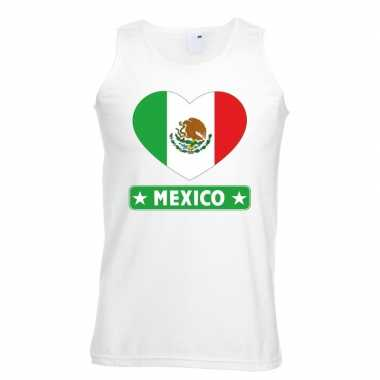 Mexico hart vlag singlet shirt/ tanktop wit heren