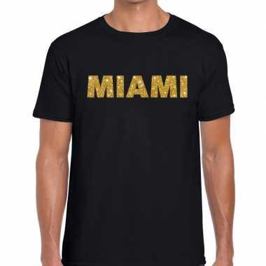 Miami gouden glitter tekst t shirt zwart heren