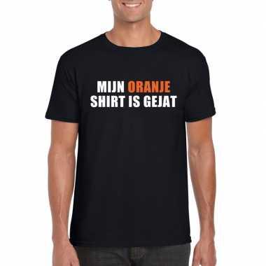 Mijn oranje shirt is gejat t shirt zwart heren