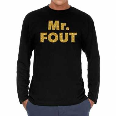 Mr. fout goud glitter long sleeve t shirt zwart heren
