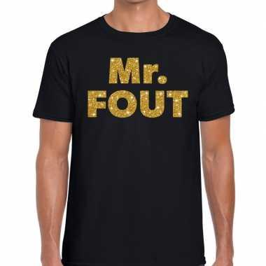Mr. fout gouden glitter tekst t shirt zwart heren