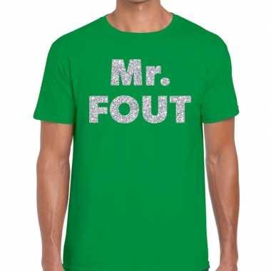 Mr. fout zilveren glitter tekst t shirt groen heren