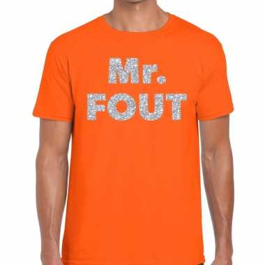 Mr. fout zilveren glitter tekst t shirt oranje heren