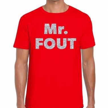 Mr. fout zilveren glitter tekst t shirt rood heren