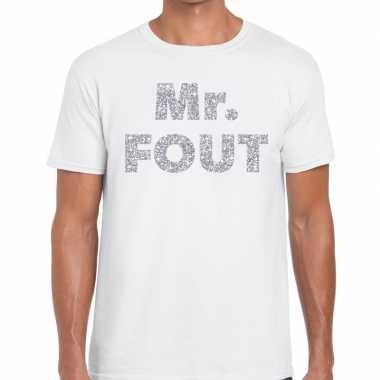 Mr. fout zilveren glitter tekst t shirt wit heren