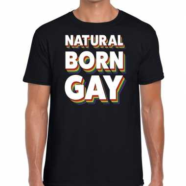Natural born gay gaypride t shirt zwart heren