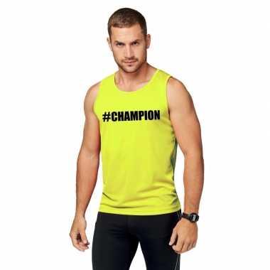 Neon geel kampioen sport shirt/ singlet #champion heren