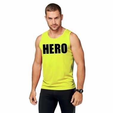 Neon geel sport shirt/ singlet hero heren