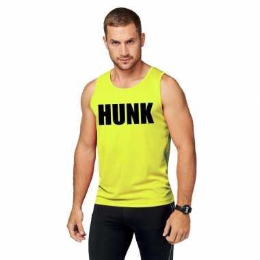 Neon geel sport shirt/ singlet hunk heren