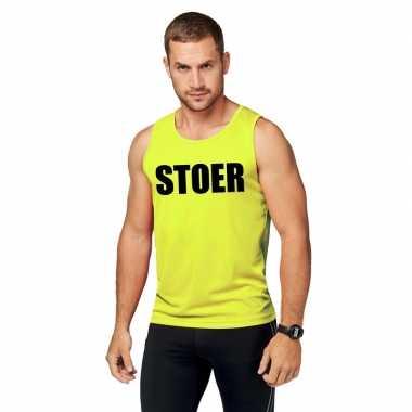 Neon geel sport shirt/ singlet stoer heren