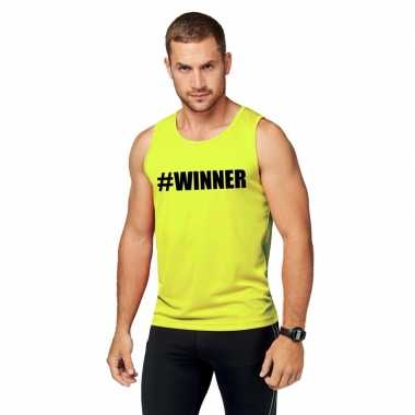 Neon geel winnaar sport shirt/ singlet #winner heren