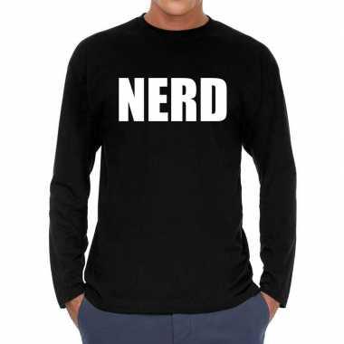 Nerd long sleeve t shirt zwart heren