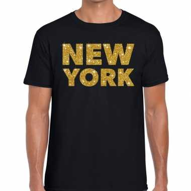 New york gouden glitter tekst t shirt zwart heren