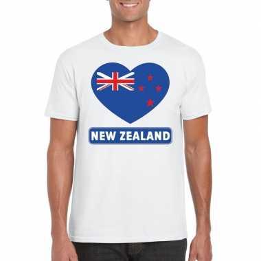 Nieuw zeeland hart vlag t-shirt wit heren