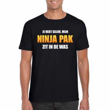 Ninja pak zit was heren carnaval t shirt zwart