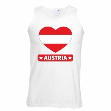 Oostenrijk hart vlag singlet-shirt tanktop wit heren