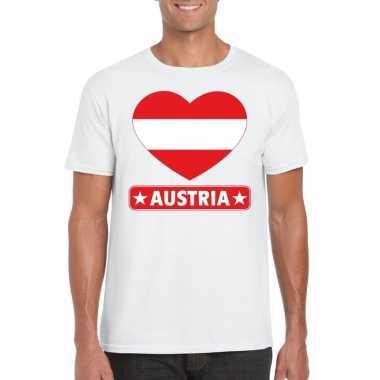 Oostenrijk hart vlag t-shirt wit heren