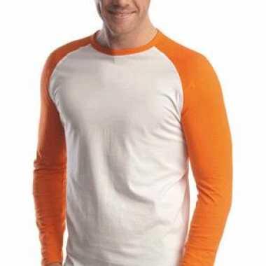 Oranje baseball t-shirt lange mouw