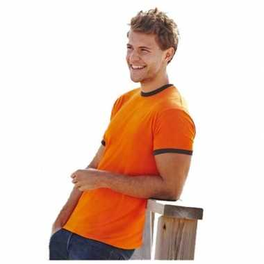 Oranje fruit of the loom ringer t shirt