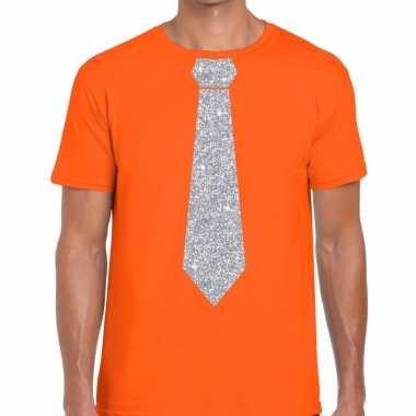 Oranje fun t shirt stropdas glitter zilver heren