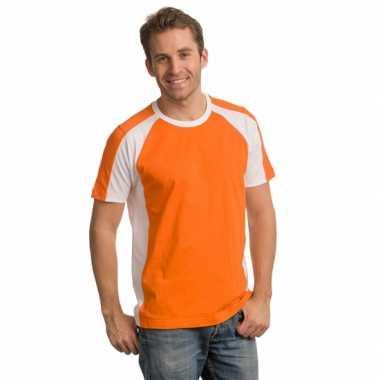 Oranje heren shirt witte details