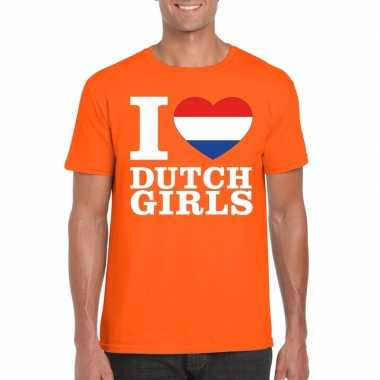 Oranje i love dutch girls shirt heren