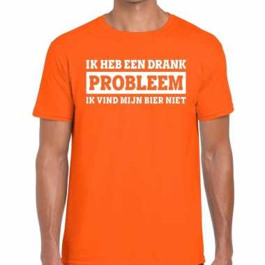 Oranje ik heb een drankprobleem t shirt heren