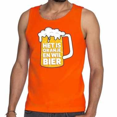 Oranje is oranje wil bier tanktop/mouwloos shirt heren