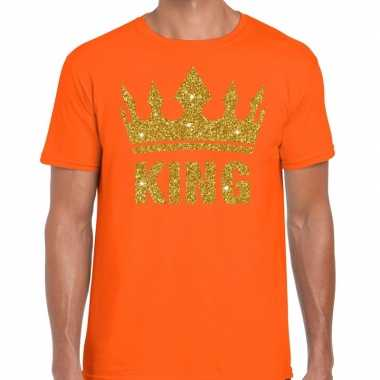 Oranje king gouden glitter kroon t shirt heren
