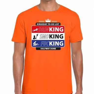 Oranje kingsday to do list shirt heren