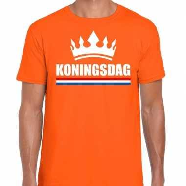 Oranje koningsdag kroon shirt heren