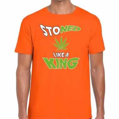 Oranje koningsdag stoned like a king t shirt heren