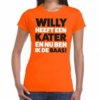 Oranje koningsdag willy heeft een kater t shirt dames