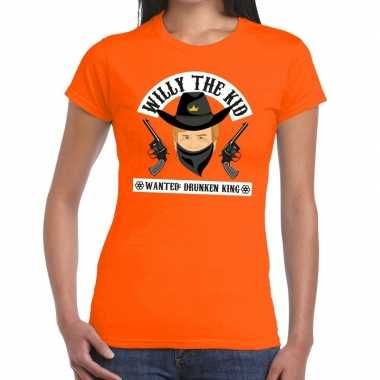 Oranje koningsdag willy the kid t shirt dames