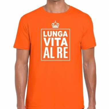 Oranje lunga vita al re italiaans t shirt heren