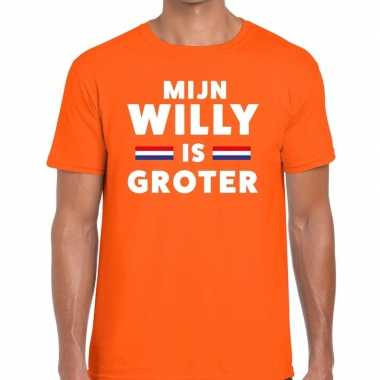 Oranje mijn willy is groter t shirt heren