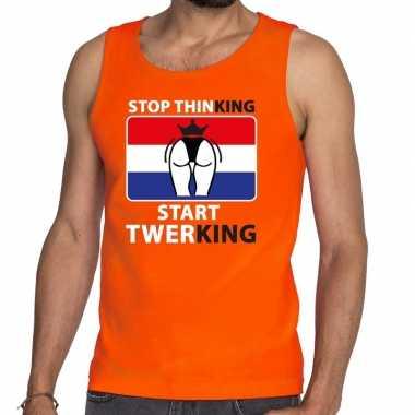 Oranje stop thinking start twerking tanktop / mouwloos shirt her