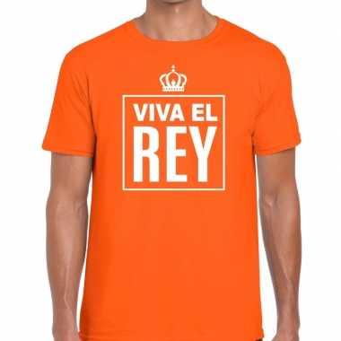 Oranje viva el rey spaans t shirt heren