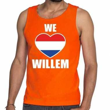 Oranje we love willem tanktop / mouwloos shirt heren